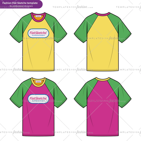 Raglan sleeve Tee shirt OVERFIT fashion flat technical drawing template