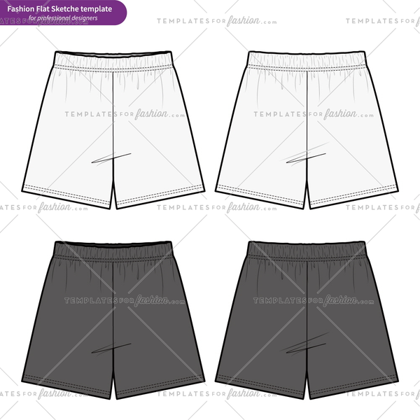 SHORT PANTS Fashion flat technical drawing vector template