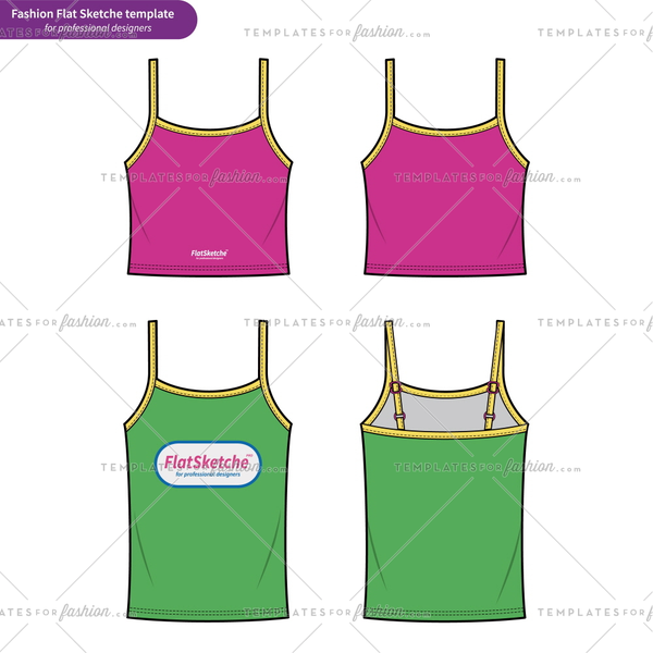 TANK TOP fashion flat technical drawing template