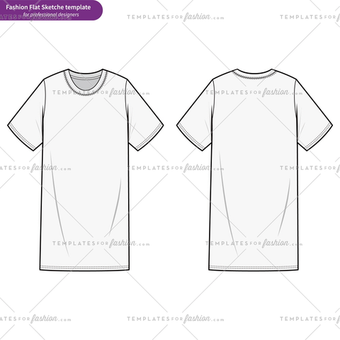 Tee Shirt Dress fashion flat technical drawing template