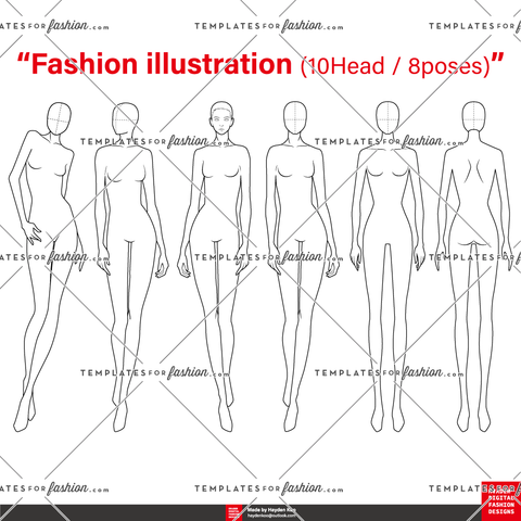 10 Head / 8 poses Fashion Figure Template