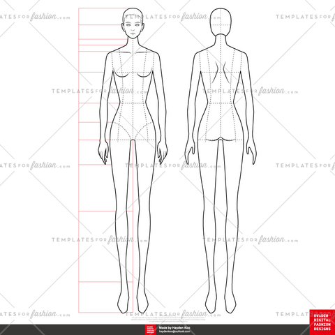 10 Head FASHION FIGURE TEMPLATES
