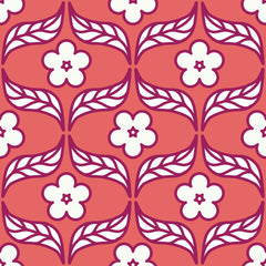 Flower and Leaf Sketch Ogee Repeating Pattern
