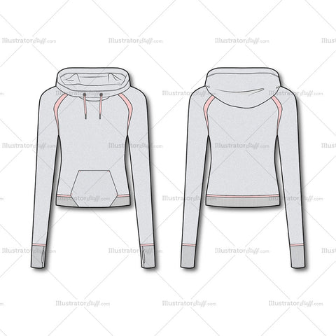 Women's Fashion Cropped Hoodie Sweatshirt Flat Template.