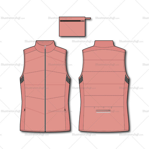 Women's Fashion Quilted Padded Gilet Flat Template.