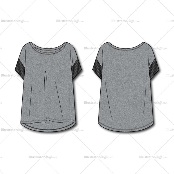 Women's Fashion Drop Shoulder Tee Flat Template