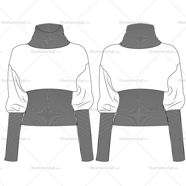 Slouch Sleeve Turtleneck Sweater Fashion Flat Templates