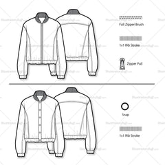 Leather Bomber Flat Template