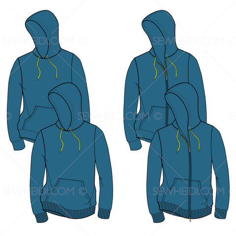 Men's Hooded Sweatshirt Fashion Flat Template