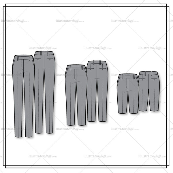 3 Lengths Of Pencil Pant Flat Template