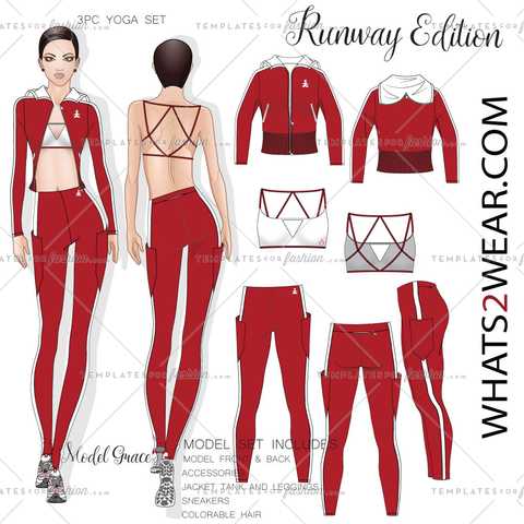 Female Fashion Yoga Wear 3Pc Runway Croquis  Set Grace