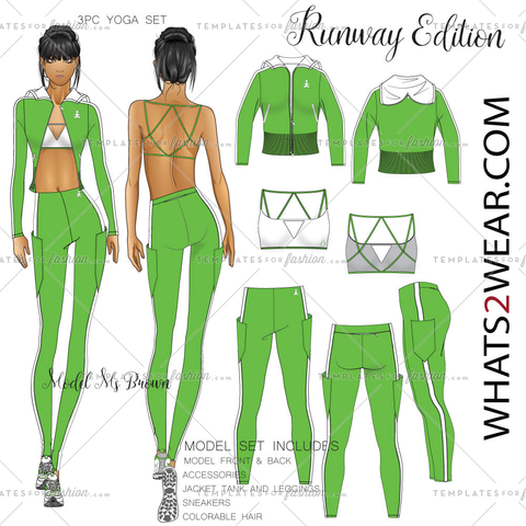 Female Fashion Yoga Wear 3Pc Runway Croquis  Set Ms. Brown