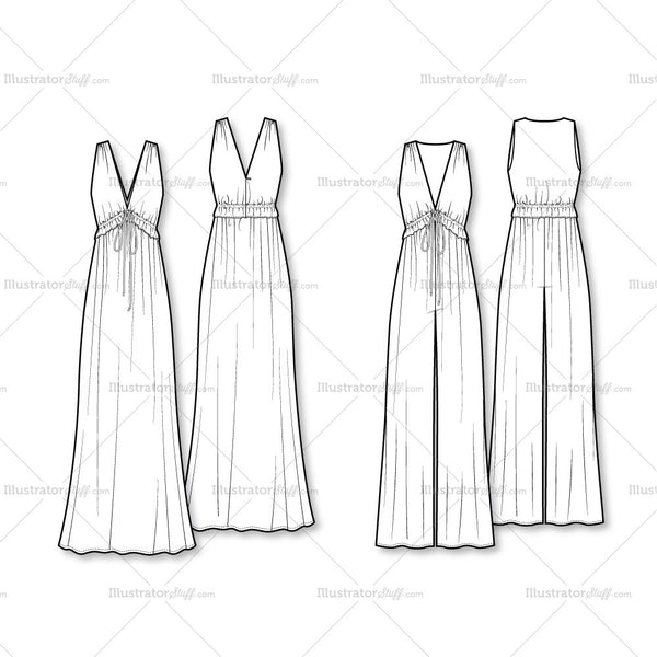 70s vibe jumpsuitmaxi dress flat template � illustrator
