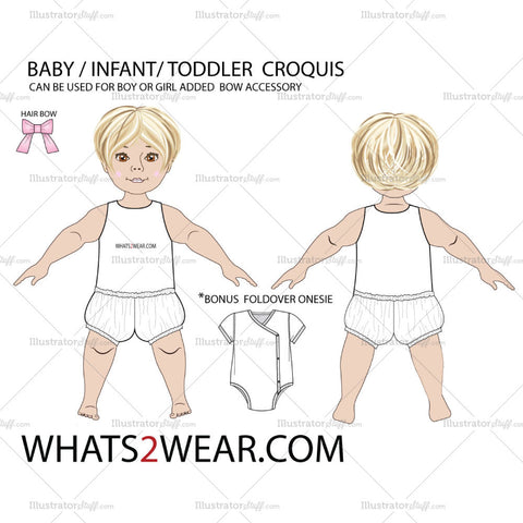 Baby Croquis Fashion Flat Template
