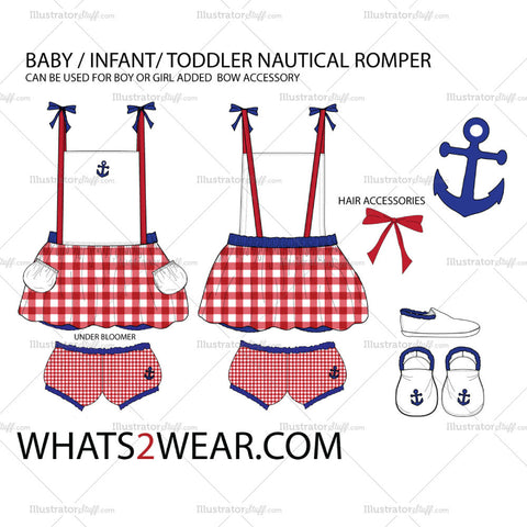 Baby / Infant Nautical Romper Fashion Flat Template