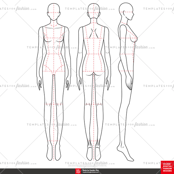 9 Head FASHION FIGURE TEMPLATES