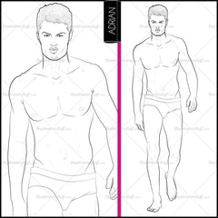 Male Runway Croquis Template: Adrian