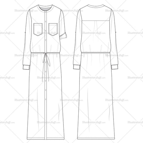 Women's Maxi Floor-length Shirt Dress with Drawstring, Breast Pockets, and Placket