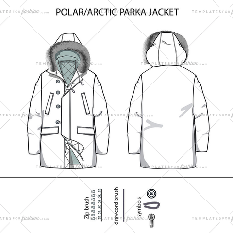 ARCTIC/POLAR PARKA JACKET with FUR HOOD.