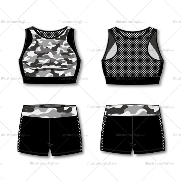 Women's Fashion Print Sport Bra And Pants Flat Template