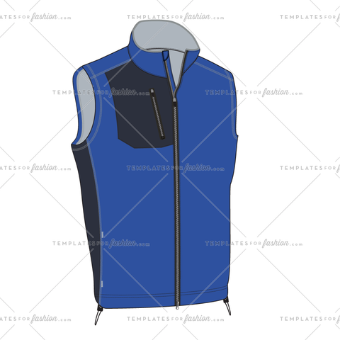 ATHLETIC FULL ZIP VEST FASHION FLAT VECTOR FILE