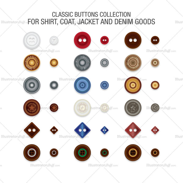 A Set Of Classic Buttons Collection
