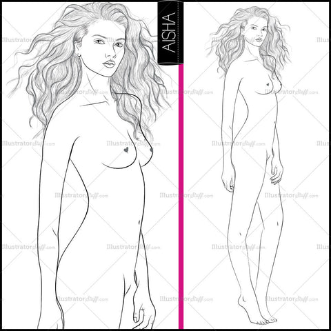 "Premium ""runway"" Fashion Croquis Figure Template ""aisha"""