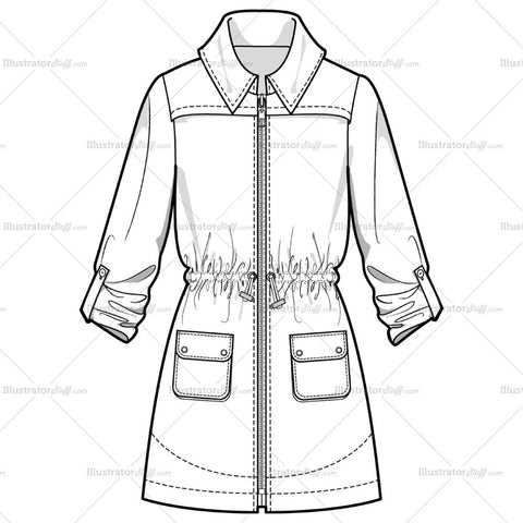 Women's Gather Waist Anoraks/ Rain Coat Fashion Flat Template