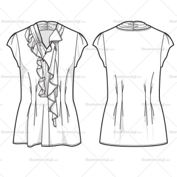 womens asymmetrical top fashion flat template