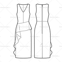 Asymmetrical Peplum Dress Flat Template
