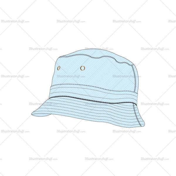 Sky Blue Bucket Hat Fashion Accessory Template