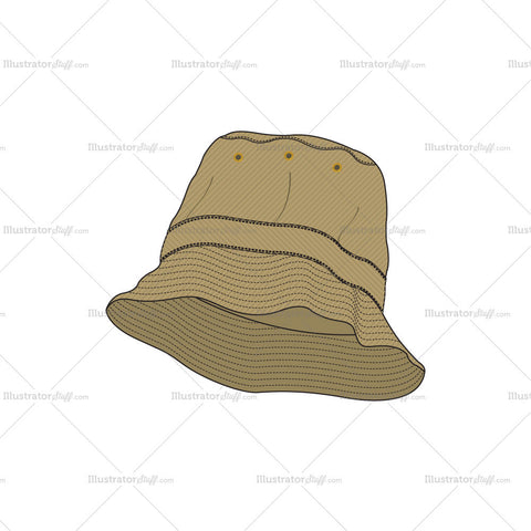 Khaki Fisher Hat Fashion Flat Template