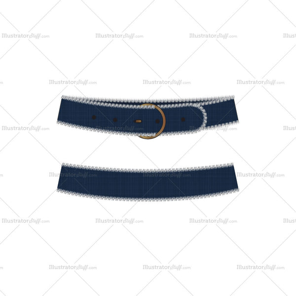 Denim Belt with Frayed Edges Fashion Flat Template