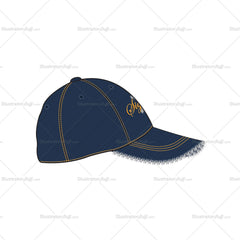 Denim Baseball Cap with Frayed Edges Fashion Flat Template