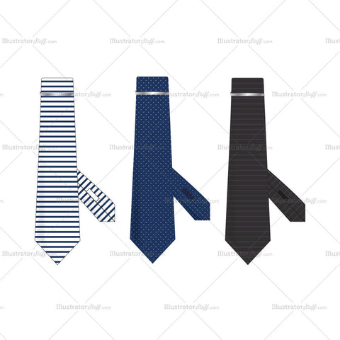 Tie with Metallic Pin Fashion Flat Template