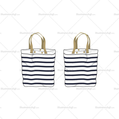 Striped Tote Bag Fashion Flat Template