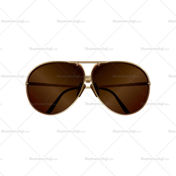 Metallic Brown Sunglasses Fashion Flat Template