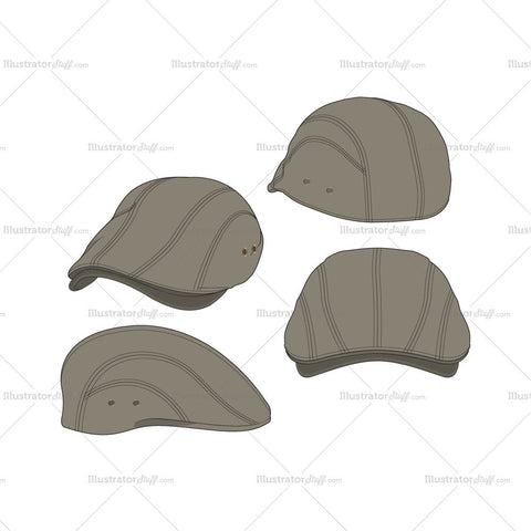 Classic Flat Cap – 4 Views Fashion Flat Template