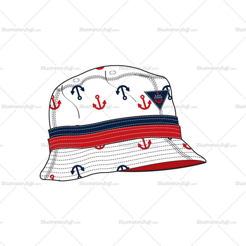 Nautical Inspired 'Anchor' Bucket Hat Fashion Flat Template