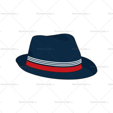 Classic Fedora Hat Fashion Flat Template