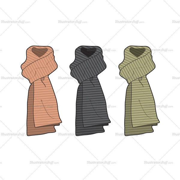 Winter Woolen Scarves Fashion Flat Template