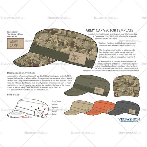 Olive Green Army Hat Vector Template