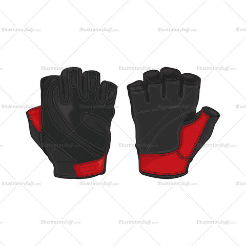 Fingerless Pro Sport Leather Gloves Template