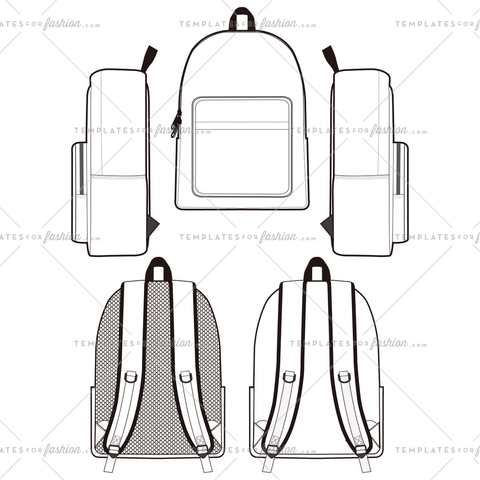 BACKPACK fashion flat sketch template