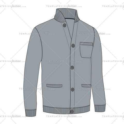 BASEBALL COLLAR CARDIGAN FASHION FLAT VECTOR FILE