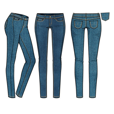 {Illustrator Stuff} Women's Medium Rinse Basic 5 Pocket Skinny Jean Fashion Flat Template