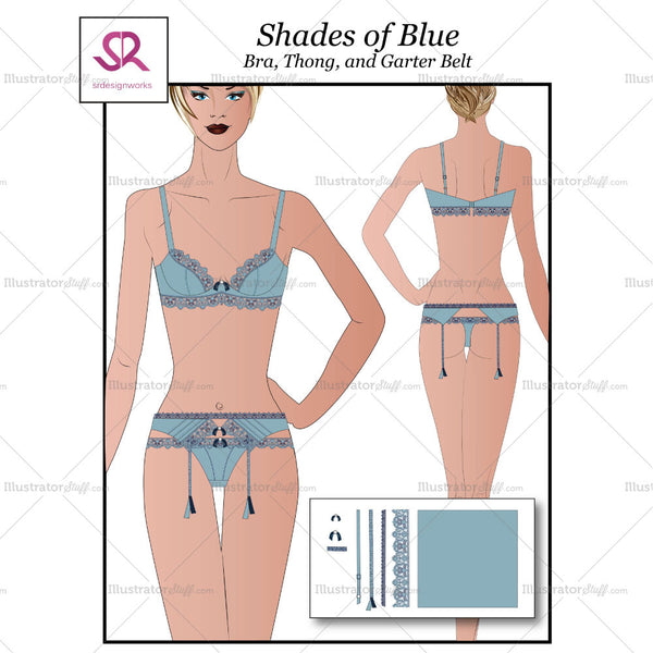 Shades Of Blue Bra,thong, & Garter Belt