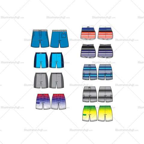 Mens Boardshorts Fashion Flat Templates