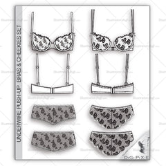 Underwire Push-up Bras & Cheekies Flat Templates