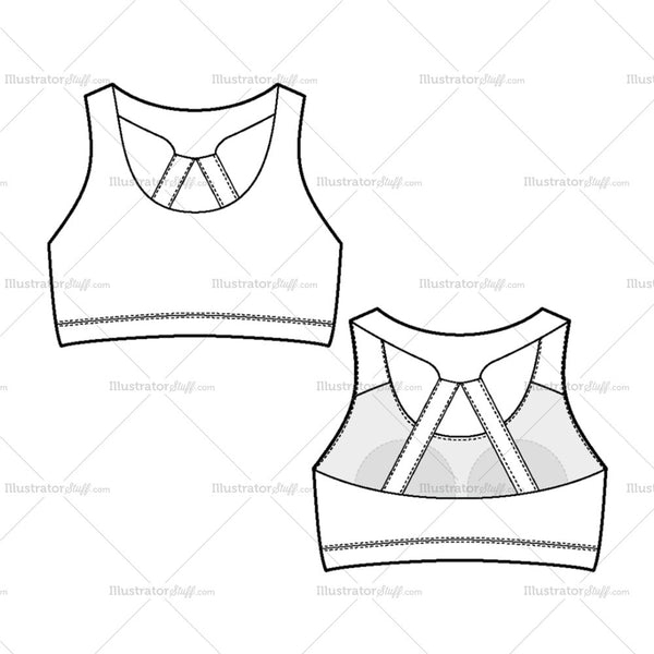 Women's Sport Bra Fashion Flat Template